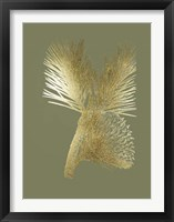 Framed Gold Foil Pine Cones III on Mid Green