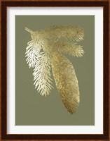 Framed Gold Foil Pine Cones IV on Mid Green