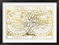 Framed UA CH Gold Foil Vintage Map
