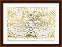 Framed UA CH Gold Foil Vintage Map