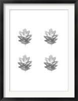 Framed 4-Up Silver Foil Leaf III