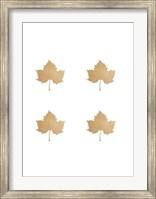 Framed 4-Up Rose Gold Foil Leaf IV