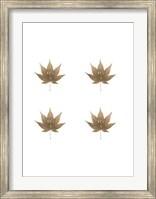 Framed 4-Up Rose Gold Foil Leaf VI