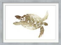 Framed Gold Foil Sea Turtle I