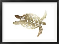 Framed Gold Foil Sea Turtle I