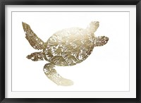 Framed Gold Foil Sea Turtle II