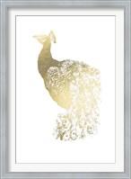 Framed Gold Foil Peacock I