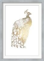 Framed Gold Foil Peacock II