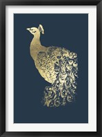 Framed Gold Foil Peacock I on Cobalt