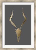 Framed Gold Foil Rustic Mount II on Dark Grey