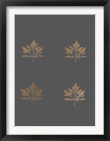 Framed 4-Up Rose Gold Foil Leaf I on Dark Grey