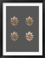 Framed 4-Up Rose Gold Foil Leaf III on Dark Grey