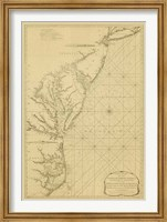 Framed Coastal Chart of the East Coast
