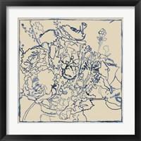 Framed Indigo Floral Sketch I