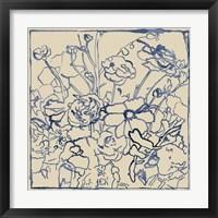 Framed Indigo Floral Sketch II