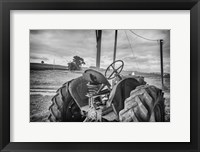 Framed Tractor and Tobacco Field BW