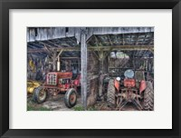 Framed Two Red  Tractors