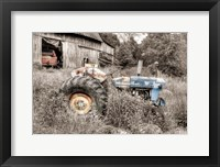 Framed Blue Tractor BW