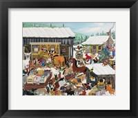 Framed Barnyard Christmas Party