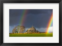 Framed Double Rainbow In Mont Saint Michel