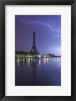 Framed Lightening Over the Eiffel