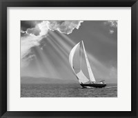 Framed Sailing under sunbeams, L'Anse Bay, Michigan '13