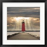 Framed Manistique Lighthouse & Sunbeams, Manistique, Michigan '14 - Color