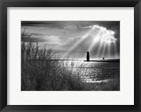 Framed Frankfort Lighthouse and Sunbeams, Frankfort, Michigan '13-IR
