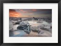 Framed Glacial Lagoon Beach