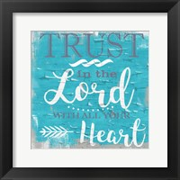 Framed Trust In The Lord Rustic Aqua