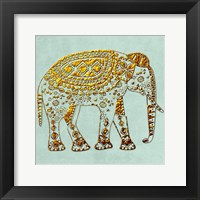 Framed Dusty Aqua Elephant