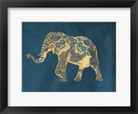 Framed Navy Gold Elephant
