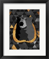 Framed Dark Gold Triangular Bear