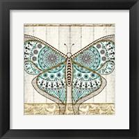 Framed Damask Butterfly Teal 1