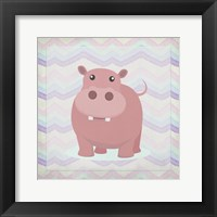 Framed Pink Hippo Time