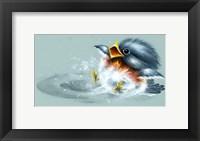 Framed April Showers - Bird Puddle