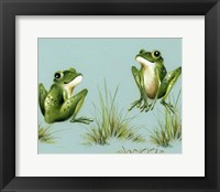 Framed April Showers - Frogs With Grass