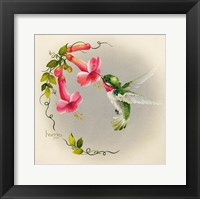 Framed Hummingbirds With Trumpet Flowers 1