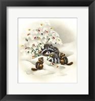 Framed Raccoon/ Chipmunks/ Christmas Lights