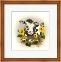 Framed Cow & Sunflowers