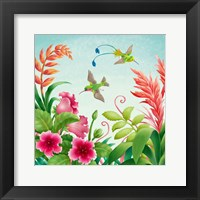Framed Flowers And Hummingbirds