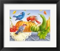 Framed Birds And Pumpkins