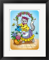 Framed Cat with Flowers