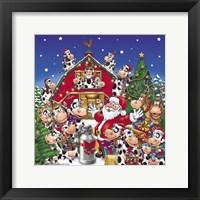 Framed Christmas Party Cows