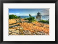 Framed Adirondack Chairs And Lighthouse