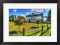 Framed White Barn And Flag