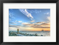Framed Key West Lone Figure Sunset