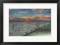 Framed Key West Sunrise Gulls and Pier