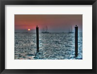 Framed Key West Sunset Two Pilings