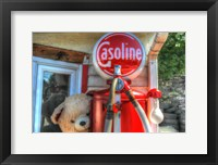 Framed Old Gas Pump and Teddy